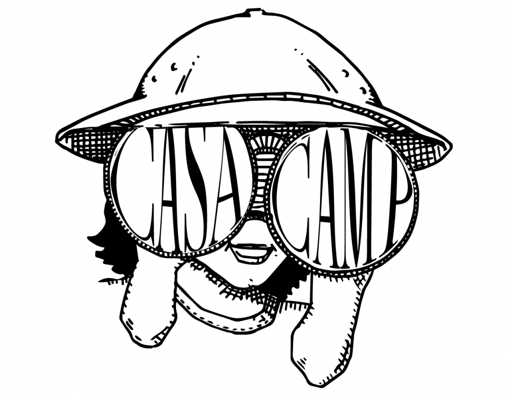 Pen and ink illustration of a happy camper created by Demachkie Design.
