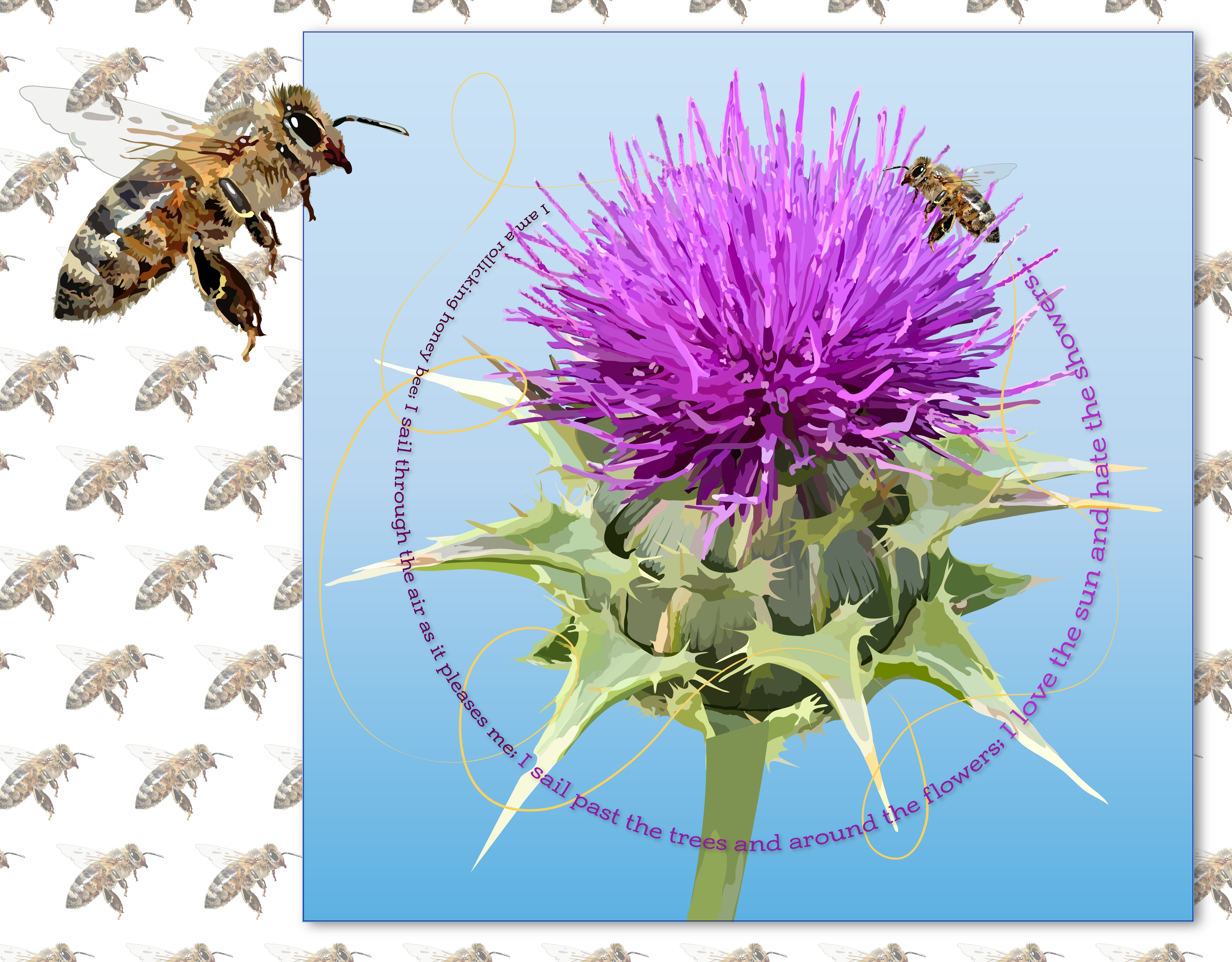 Honey Bee and Thistle illustration