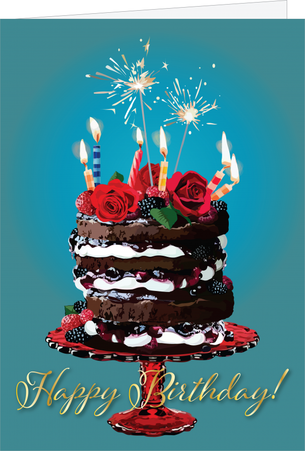 Illustration of a Birthday Cake with lit candles