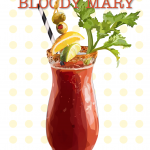 illustration of a Bloody Mary cocktail wtih polka-dot background