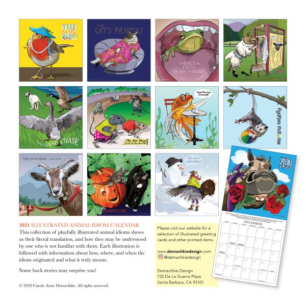 Image of back of Animal Idiom Calendar by Red Barn Press