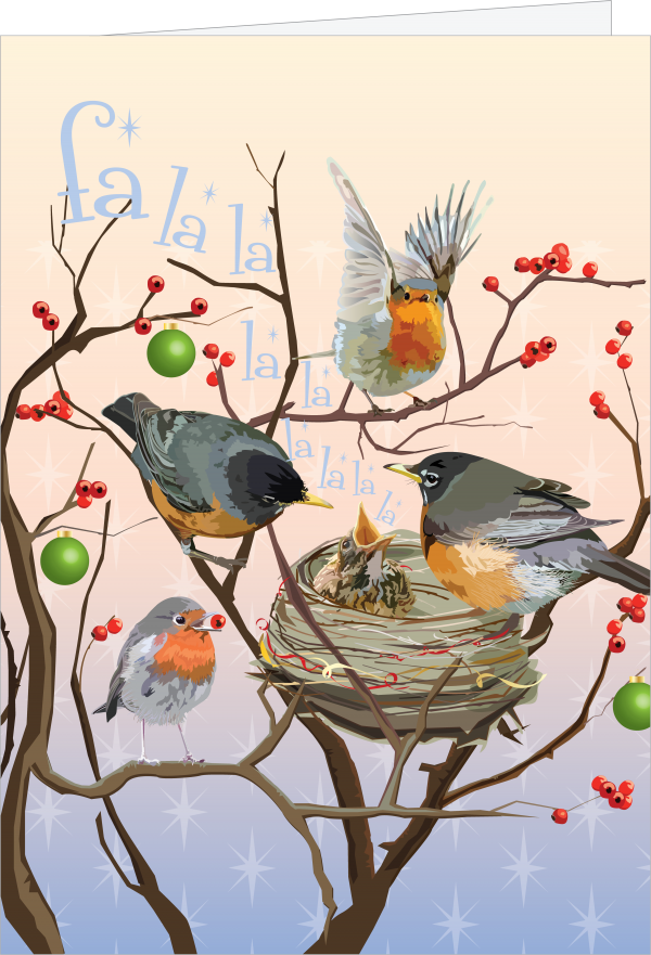 illustration of robins around their holiday nest, by Carole Anne Demachkie