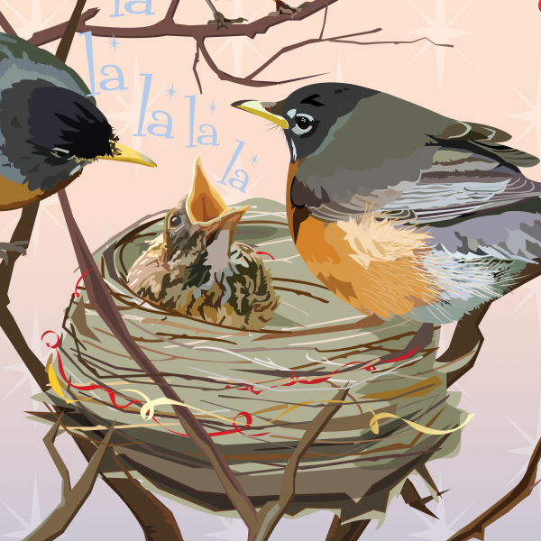 Details of bird at nest illustration by The Red Barn Press