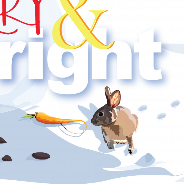 Details of Merry & Bright greeting card by The Red Barn Press