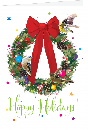 Holiday wreath illustration by The Red Barn Press
