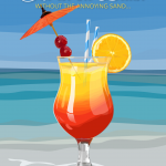 illustration of a Sex on the Beach cocktail by The Red Barn Press