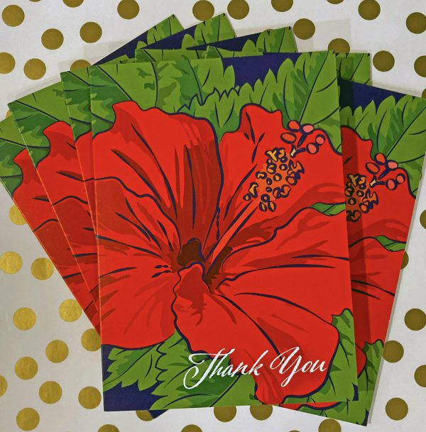 red hibiscus note cards
