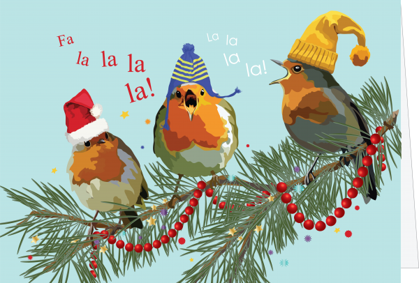 illustration of birds on a branch in hats