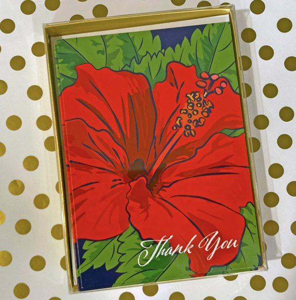 boxed set of hibiscus thank you cards