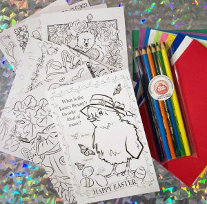 set of illustrated coloring cards