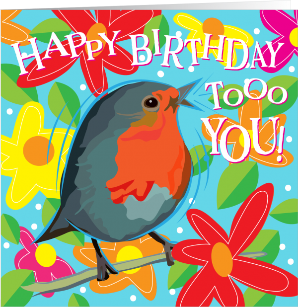 illustrated bird with happy birthday
