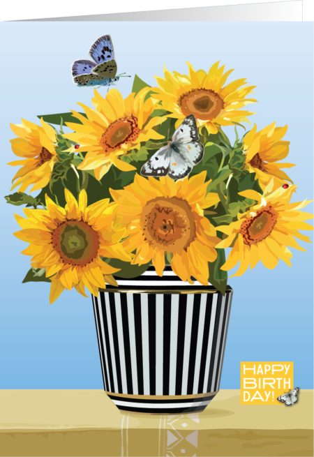sunflowers in a striped vase