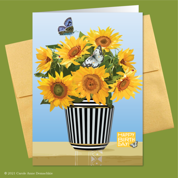 Sunflower birthday card and gold envelope