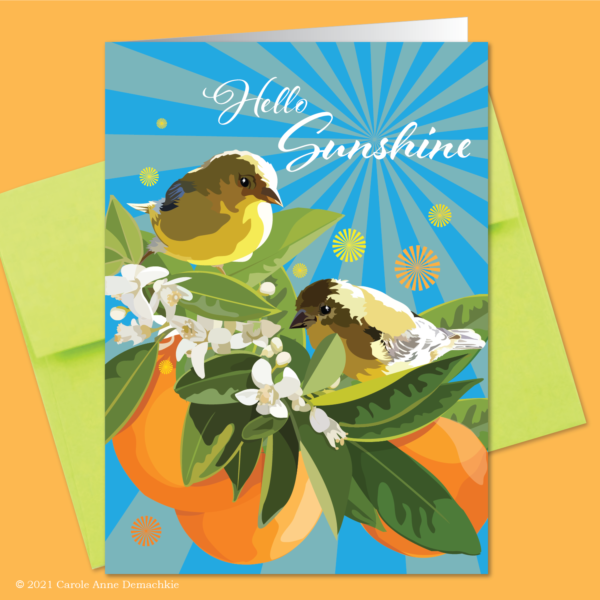 illustration with birds, oranges, and orange blossoms