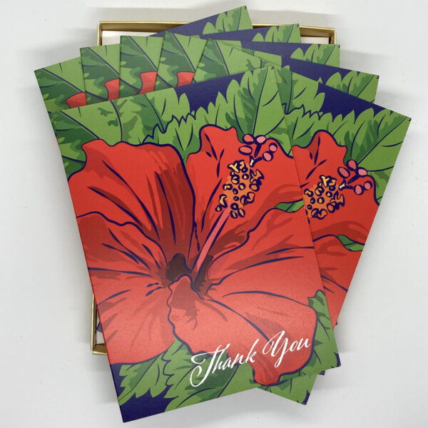 Red hibiscus cards